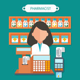 Pharmacist Concept Flat Design Stock Photography