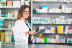 Pharmacist with Digital Tablet royalty free stock photos