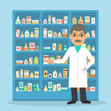 Pharmacist at the drugstore. Smiling man pharmacist at the counter against shelves with drugs and medicines. Drugstore male salesperson at workplace. Vector stock illustration