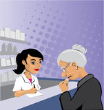 Pharmacist and elder Stock Photography