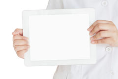 Pharmacist hand hold tablet computer with blank screen Royalty Free Stock Images