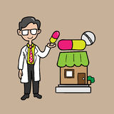 Pharmacist holding colorful big capsule Royalty Free Stock Images