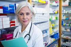 Pharmacist holding a file. Portrait of pharmacist holding a file in pharmacy stock image