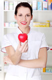 Pharmacist holding heart. Stock Photo