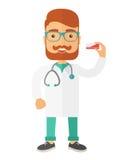Pharmacist holding a medicine Stock Photo