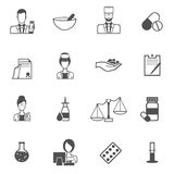 Pharmacist icon black set Royalty Free Stock Photography