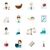 Pharmacist icon flat set Royalty Free Stock Photos