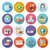 Pharmacist Icons Set Stock Photo