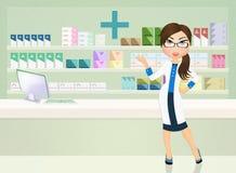 Pharmacist. Illustration of girl in the pharmacy