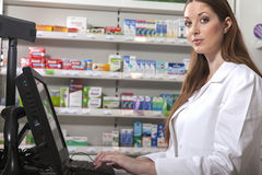 Pharmacist looks at the camera Stock Image
