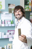 Pharmacist and the medicament Stock Images