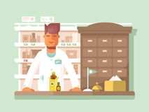 Pharmacist at the pharmacy. Drugstore shop, medication and assistance. Vector illustration Stock Photography