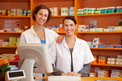 Pharmacist and pharmacy technician Royalty Free Stock Photo