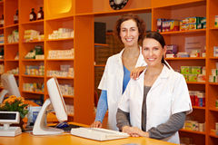 Pharmacist and pharmacy technician Stock Photo