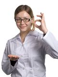 Pharmacist & pills. Doctor shows patients of a tablets and vitamins Stock Photo