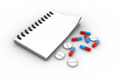 Pharmacist prescription with pills. In white color background Royalty Free Stock Photo