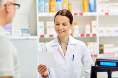 Pharmacist reading prescription and senior man Royalty Free Stock Images