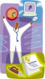 Pharmacist; recept; dator Vektor Illustrationer