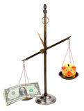 Pharmacist scales with money and piggybank Royalty Free Stock Image