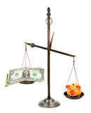 Pharmacist scales with money and piggybank Stock Photography