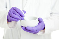 Pharmacist or Scientist with Mortar and Pestle Royalty Free Stock Images