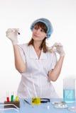 Pharmacist selects the powder Stock Photos