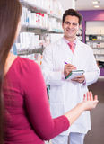 Pharmacist serving woman in pharmacy Royalty Free Stock Photography