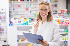 Pharmacist using tablet pc Royalty Free Stock Photography