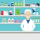 Pharmacist vector illustration. Pharmacist on background of shelves with medications. Stock Image