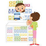 Pharmacist and visitor Royalty Free Stock Images