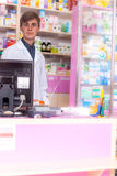 Pharmacist waiting for the client Royalty Free Stock Photography