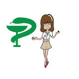 Pharmacist woman cartoon character Stock Images