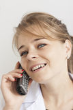 Pharmacist woman on phone Royalty Free Stock Photos
