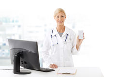 Pharmacist woman portrait Royalty Free Stock Images