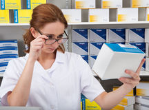 Pharmacist Working In Pharmacy Stock Photography