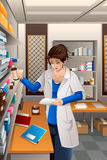 Pharmacist Working in the pharmacy. A vector illustration of pharmacist working in the pharmacy drugstore Stock Photos