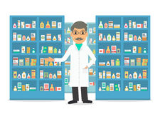 Pharmacist at workplace. Pharmacist at the counter against shelves with drugs and medicines. Drugstore male salesperson at work. Vector illustration in flat stock illustration
