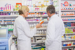 Pharmacists team talking about medicine Royalty Free Stock Photo
