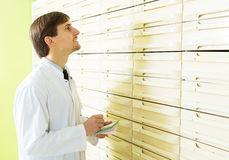 Pharmacists working in pharmacy. Portrait of male pharmacists working in pharmacy depot Stock Image