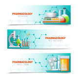 Pharmacology 3 Horizontal Banners Set Stock Photo