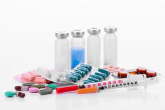 Pharmacology tablets vials syringes Stock Photos