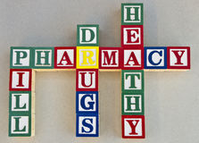 Pharmacy. A set of words related to the term pharmacy Royalty Free Stock Photos