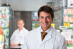 Pharmacy. Portrait of male pharmacist looking at camera and smiling stock photography