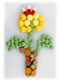 Pharmacy background. Some different pills as a form flower Royalty Free Stock Images