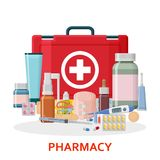 Pharmacy background. Medical first aid kit with different pills, plaster, bottles and thermometer, syringe. Vector illustration Royalty Free Stock Photography