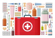 Pharmacy background. Medical first aid kit with different pills, plaster, bottles and thermometer, syringe. Vector illustration Stock Images