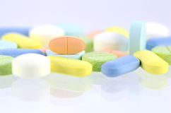 Pharmacy background, Medicine template in pastel tone. Stock Image