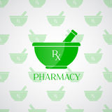 Pharmacy background - mortar in green color Stock Photo