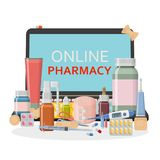 Pharmacy background. Online store concept. Different medical pills, plaster, thermometer, syringe and bottles Royalty Free Stock Images