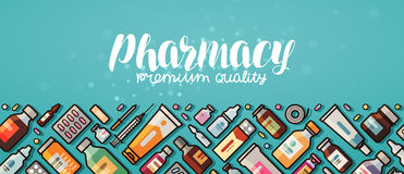 Pharmacy banner. Medicine, medical supplies, hospital concept. Vector illustration in flat style Stock Photography